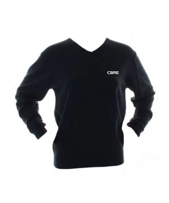 Ladies Acrylic Cotton V-Neck Sweater Black