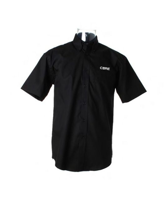 Short Sleeve Premium Oxford Shirt Black With CBRE Logo