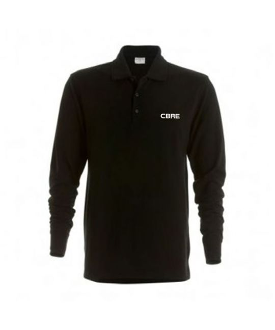 Long Sleeve Poly/Cotton Polo Shirt Black