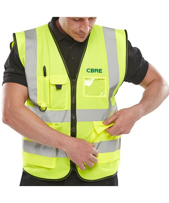 Executive High Visibility Vest Saturn Yellow With CBRE Logos