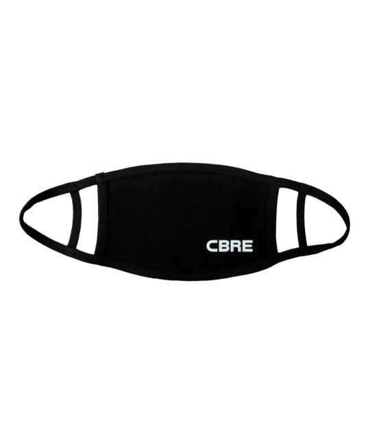 Washable 2-Ply Face Covering Black With CBRE Logo (Pack of 5)