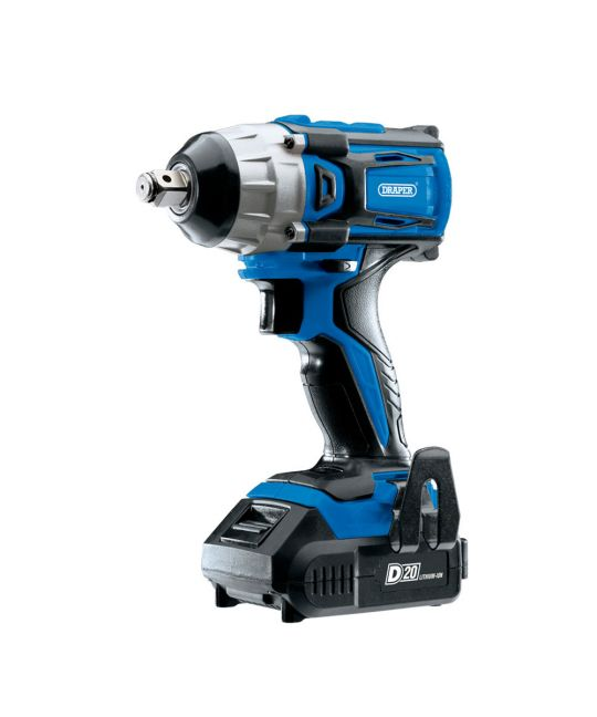 "Draper D20 Brushless 1/2"" Impact Wrench With 2x 2.0Ah Batteries and Charger"