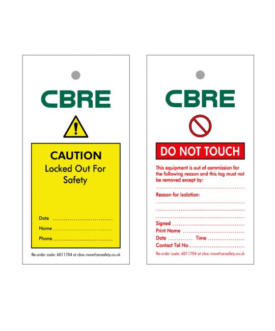 TAG-DOUBLE SIDED CBRE PRINTED INSPECTION/CAUTION-PACK/10