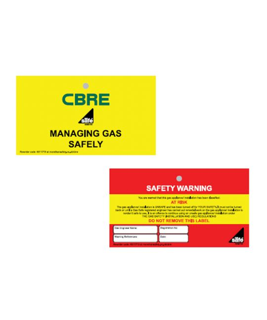 CBRE Gas Safe Double Sided Tag - At Risk (Pack of 10)