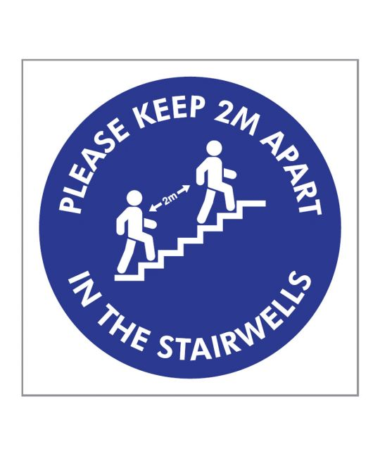 Please Keep 2m Apart in the Stairwells Indoor Wall Sign