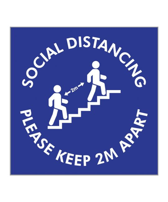 Social Distancing Please Keep 2m Apart Stairwells Indoor Wall Sign