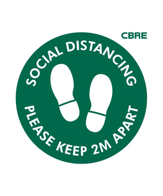 Please Keep 2m Apart Floor Sign With CBRE Logo