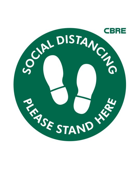 Please Stand Here Floor Sign With CBRE Logo