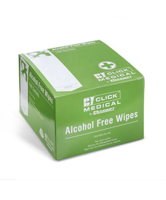Click Medical Alcohol Free Wipes (Box of 100)