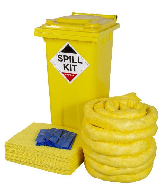 Chemical Spill Kit 120l In Wheelie Bin (Yellow)