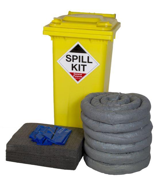General Purpose 120l Spill Kit In Wheelie Bin (Yellow)